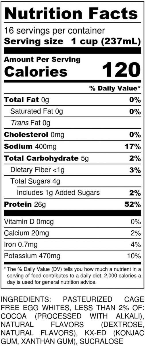 Chocolate Gallon Nutritional
