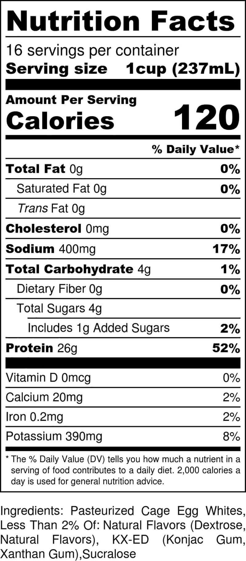 Vanilla Gallon Nutritional