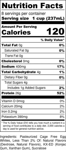 Vanilla half-gallon nutritional