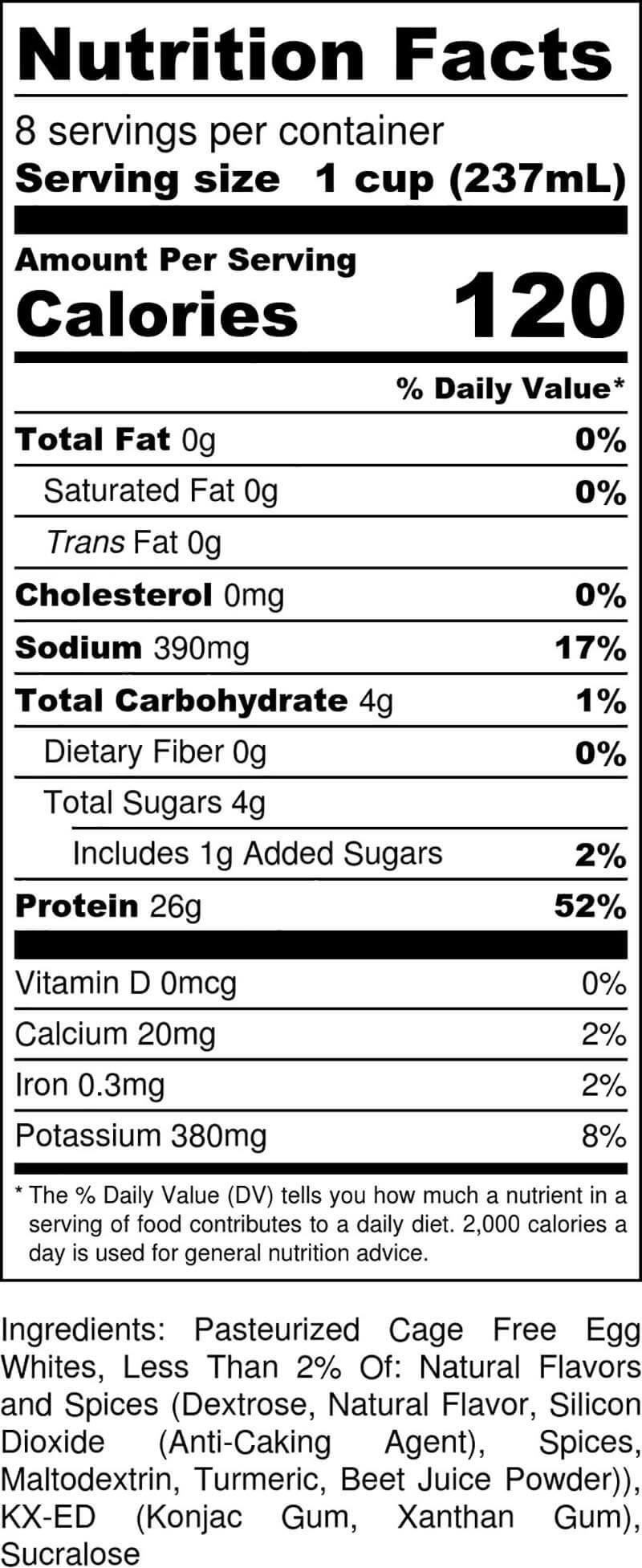 Pumpkin Spice Half-Gallon Nutritional