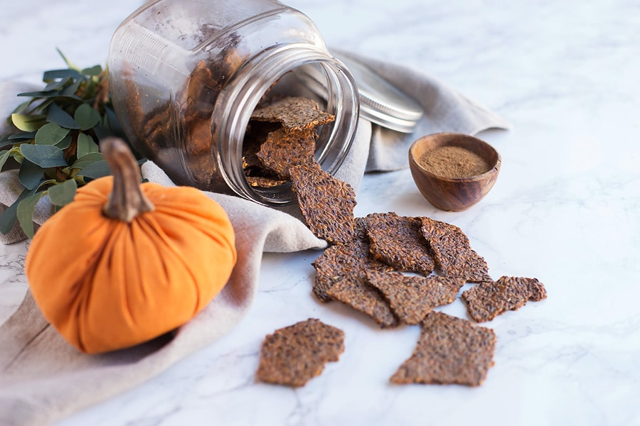 Pumpkin Spice Flax Crackers