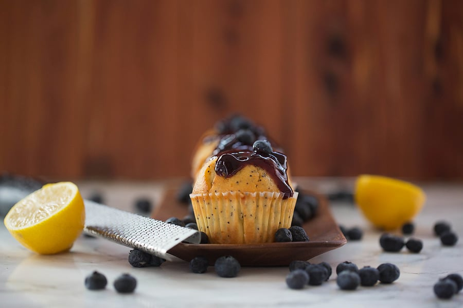 Honey Muffins with blueberry preserves