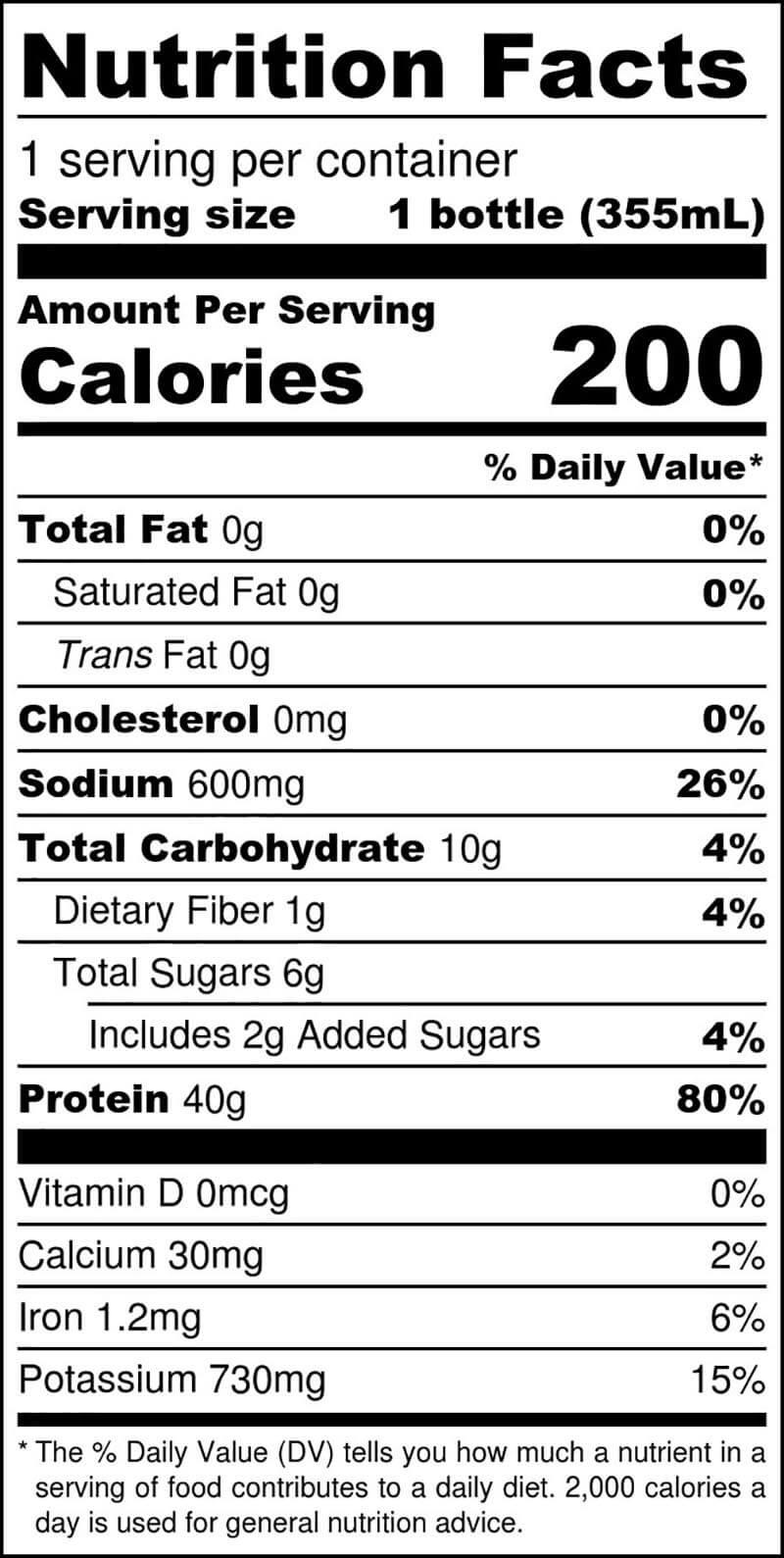 Chocolate Mocha Single Serve Nutritional