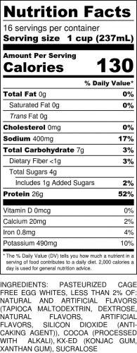 Chocolate Mocha Gallon Nutritional