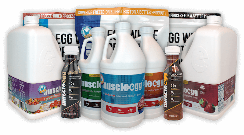 MuscleEgg products displaying new cage-free packaging