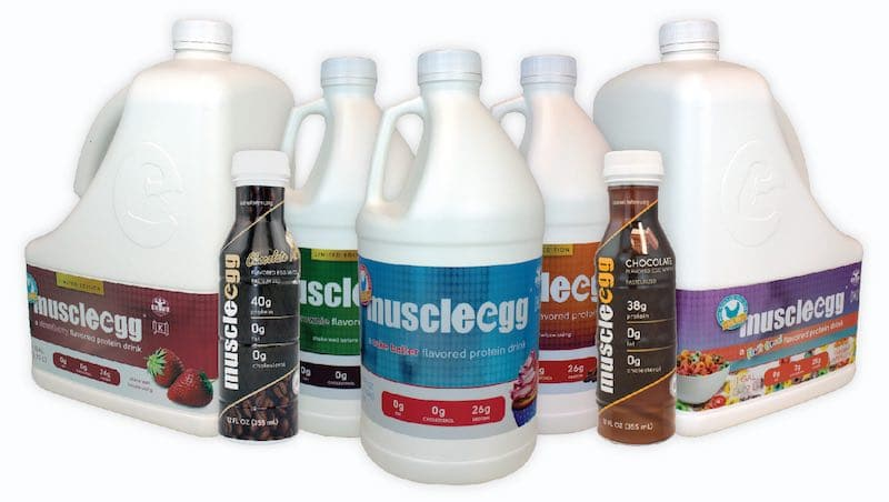Various MuscleEgg liquid egg white products