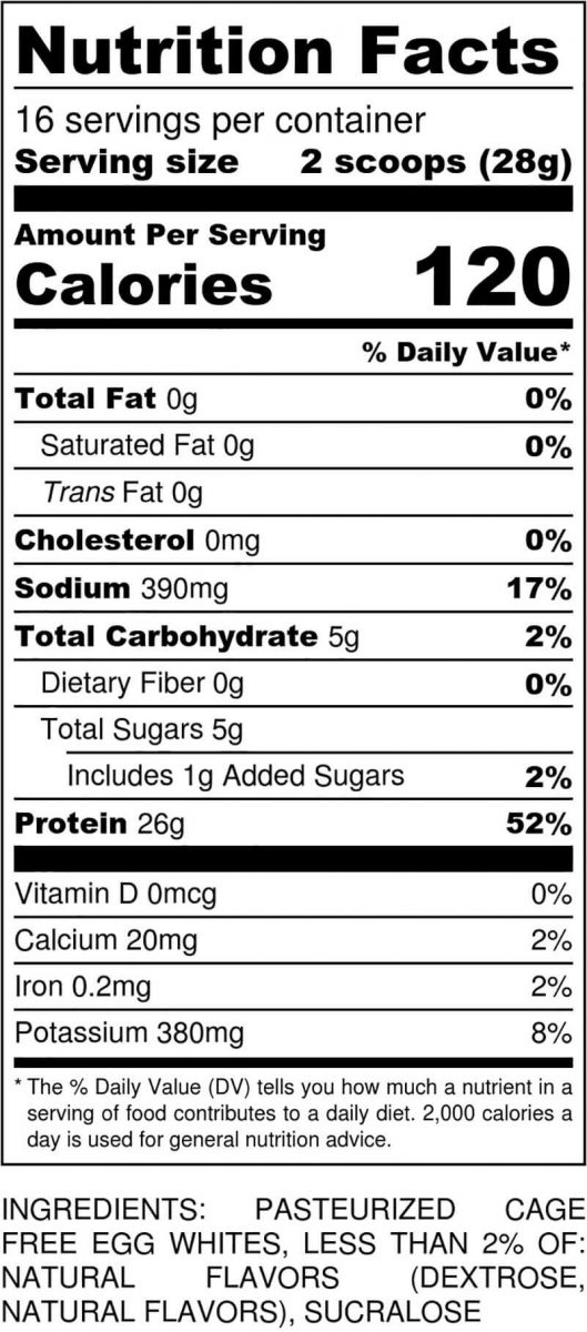 Cake Batter Powder Nutritional